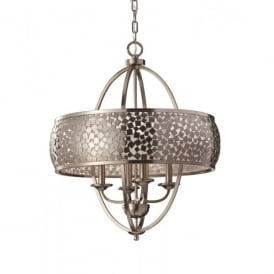 Zara 4 Light Chandelier with a Brushed Steel Finish and a Silver Organza Shade