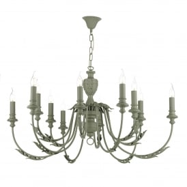 Emile 12 Light Ceiling Chandelier in Ash Grey Finish