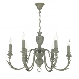 Emile 6 Light Ceiling Chandelier in Ash Grey Finish