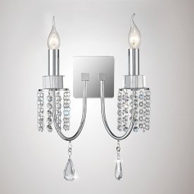 Emily 2 Light Wall Fitting In Polished Chrome And Crystal Finish