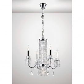 Emily 5 Light Ceiling Fitting In Polished Chrome And Crystal Finish