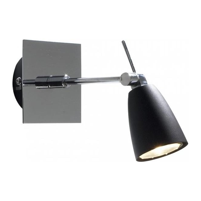 Dar Lighting Empire Single Light Halogen Switched Wall Fitting in Polished Chrome And Black Finish