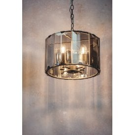61281 Clooney 4 Light Ceiling Pendant in Slate Grey Finish with Smoked Glass Panels