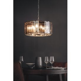 61294 Clooney 8 Light Ceiling Pendant in Slate Grey Finish with Smoked Glass Panels