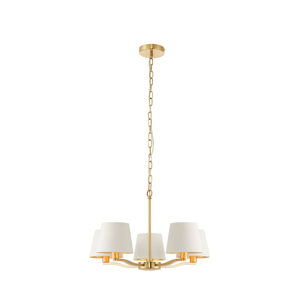 Endon Collection 67734 Harvey 5 Light Ceiling Chandelier In Brushed Satin Gold Finish With White Faux Silk Shades Castlegate Lights
