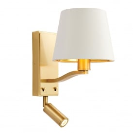 69092 Harvey 2 Light Wall Fitting In Brushed Satin Gold Finish With A White Faux Silk Shade