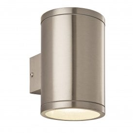 73194 Nio 2 Light LED Wall Fitting in Brushed Stainless Steel Finish with Clear Glass Lens
