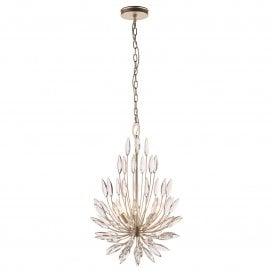 76505 Orianna 3 Light Ceiling Pendant in Champagne Finish with Curved Scroll Glass Detail