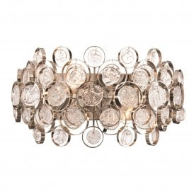 76510 Marella 2 Light Wall Fitting in Nickel and Glass