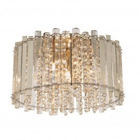 78698 Hanna 4 Light Semi Flush Crystal Ceiling Fitting