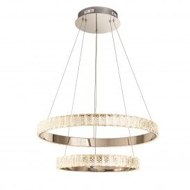 78701 Celeste 2 Ring LED Ceiling Pendant with Crystal and Polished Chrome
