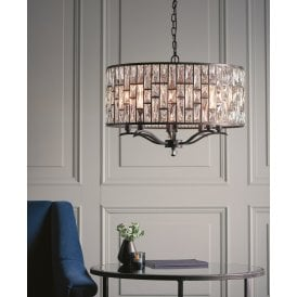 Belle 8 Light Ceiling Pendant in Dark Bronze and Clear Crystal Glass