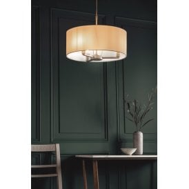 Daley 3 Light Ceiling Pendant in Matt Nickel Finish with White Shade