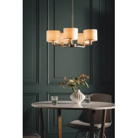 Daley 5 Light Multi Arm Ceiling Pendant in Matt Nickel Finish with White Shades