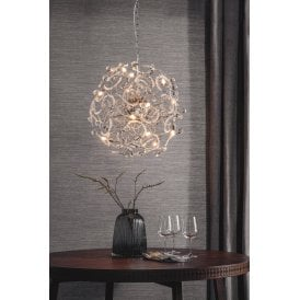 Gabriella 16 Light Ceiling Pendant in Polished Chrome Finish with Crystal Detail
