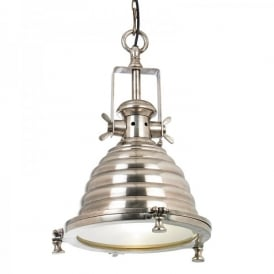 Gaskell Single Light Ceiling Pendant In Tarnished Silver Effect Finish With Clear Glass Diffuser