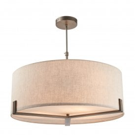 Hayfield 3 Light Ceiling Pendant in Brushed Bronze Finish with Natural Linen Shade