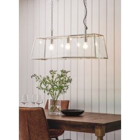 Hurst 3 Light Ceiling Pendant in Bright Nickel Finish with Clear Glass Panels