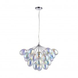 Infinity 6 Light Ceiling Pendant in Polished Chrome Finish with Iridescent Glass Shade