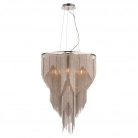 Loire 6 Light Ceiling Pendant in Polished Nickel Finish with Silver Effect Chain