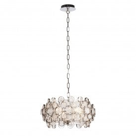 Marella 4 Light Ceiling Pendant in Bright Nickel Finish with Circular Glass Detail