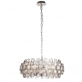 Marella 6 Light Ceiling Pendant in Bright Nickel Finish with Circular Glass Detail