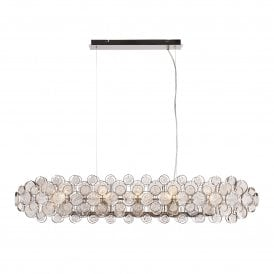 Marella 8 Light Ceiling Pendant in Bright Nickel Finish with Circular Glass Detail