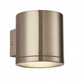 Nio Single Light LED Wall Fitting in Brushed Stainless Steel Finish with Clear Glass Lens