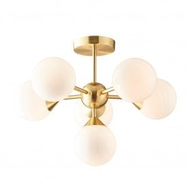 Oscar 11 Light Ceiling Pendant in Brushed Brass Finish with Gloss White Shades