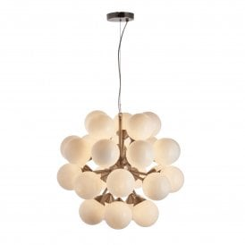Oscar 28 Light Ceiling Pendant in Satin Nickel Finish with Gloss White Shades