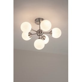 Oscar 6 Light Semi Flush Ceiling Fitting In Satin Nickel Finish With White Glass Shades