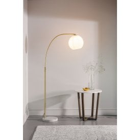 Otto Single Light Floor Lamp in Brushed Brass with Gloss White Shade