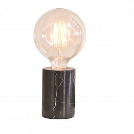 Otto Single Light Table Lamp Base in Black Marble Finish