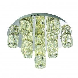 Prisma 15 Light LED Semi Flush Ceiling Fitting in Mirrored Polished Chrome Finish with Crystal Shades
