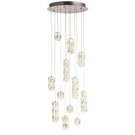 Prisma 24 Light Ceiling Pendant in Chrome Finish with Crystal Shades