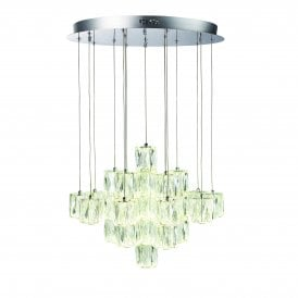 Prisma 30 Light LED Ceiling Pendant in Chrome Finish with Crystal Shades
