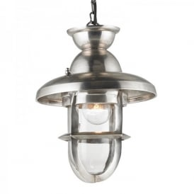 Rowling Single Light Large Ceiling Pendant In Tarnished Silver Effect Finish With Clear Glass Diffuser