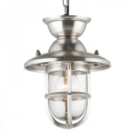 Rowling Single Light Small Ceiling Pendant In Tarnished Silver Effect Finish