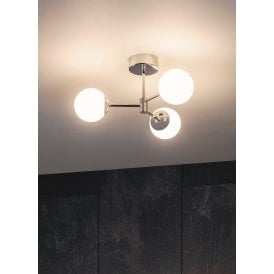 Vetro 6W LED 3 Light Semi Flush Bathroom Ceiling Fitting in Polished Chrome Finish with Opal Shades