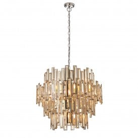 Viviana 15 Light Ceiling Pendant in Polished Nickel Finish with Clear Glass Crystals