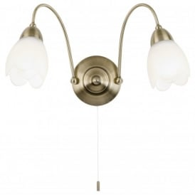 2 Light Wall Fitting In Antique Brass Finish With Floral Glass Shade