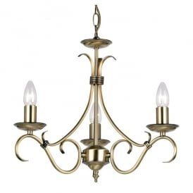 2030-3AN Decorative Candelabra Style 3 Light Ceiling Fitting In Antique Brass Finish