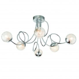 76349 Auria 6 Light Ceiling Fitting in Polished Chrome Finish