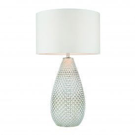 77093 Livia Single Light Table Lamp with Silver Glass Base