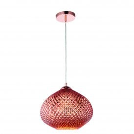 77094 Livia Single Light Copper Glass Ceiling Pendant
