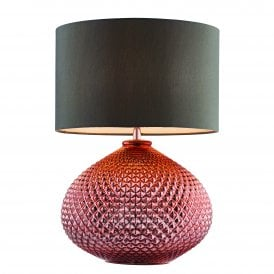 77097 Livia Single Light Table Lamp with Copper Plated Glass
