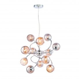 Aerith 12 Light Ceiling Pendant in Chrome Finish with Tinted Glass Shades