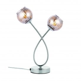 Aerith 2 Light Touch Table Lamp in Chrome Finish with Tinted Glass Shades