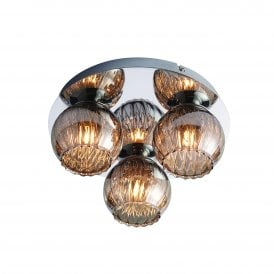 Aerith 3 Light Flush Ceiling Fitting in Chrome Finish with Smokey Mirror Tinted Glass Shades