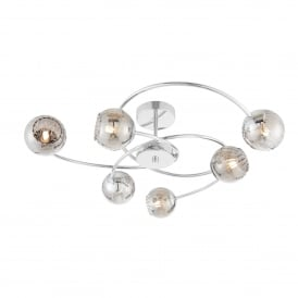 Aerith 6 Light Ceiling Fitting with Polished Chrome Fitting